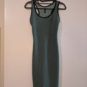 Black and pea green textured bodycon dress